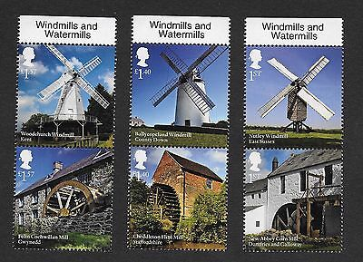 1) GB Stamps 2017 Windmills & Watermills With Name Tabs Full Set Pairs MNH .