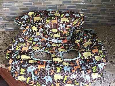 Infantino Baby Shopping Cart Cover High Chair Cover Brown Blue Animals