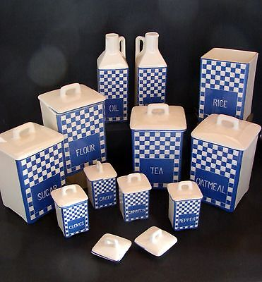 PARTIAL SET Vintage Czech DITMAR URBACH Blue & White Kitchen Canisters