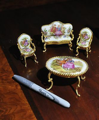 Limoges Fragonard Limoges Miniature Settee (Love Seat) 2 chairs+table