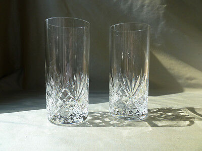 2 Crystal High Ball Glasses, Not Signed Royal Brierley? VGC