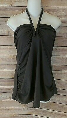 Liz Lange Maternity Tankini Swimsuit Top Size XL Braided Halter Gray NWT