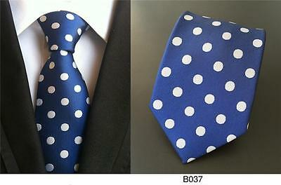 Blue and White Polka Dot Handmade 100% Silk Wedding Tie