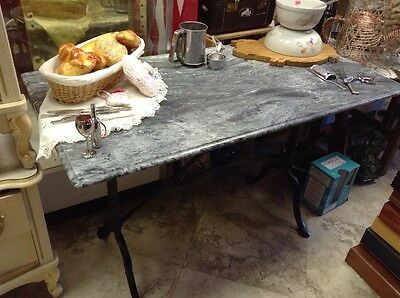 Vintage French Style Pastry Bistro Table Iron legs with Granite Top