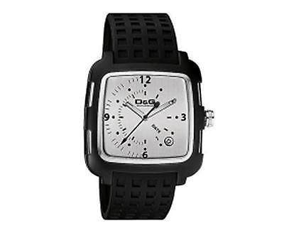 D&G DW0361 'Square' Gents Silver Dial Black Strap Watch