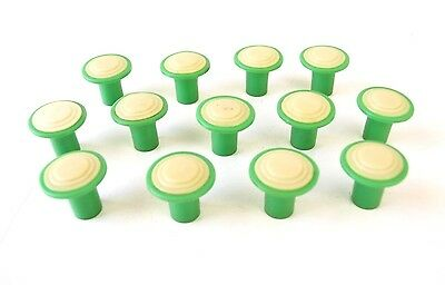 Lot Of 13 Green 40s Plastic Drawer Pulls Kitchen Hoosier Cabinet Knobs Hardware
