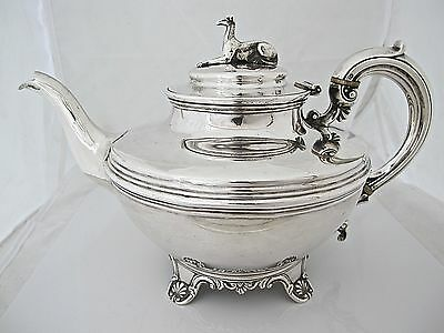 Elegant large early Victorian silver teapot, William Hunter  London 1842