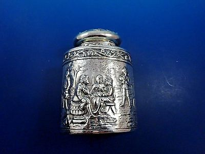 Antique Silver Plated Tea Caddy with Scenes of Town Life & Sailboat on Top #1402