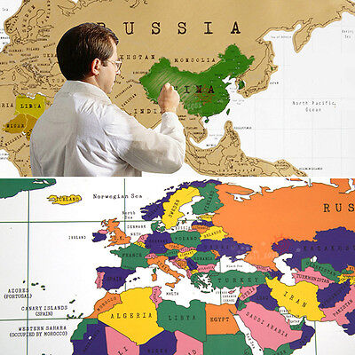 Scratch Travel Map Of The World Personalized Poster Wall Sticker Decora 82x59cm
