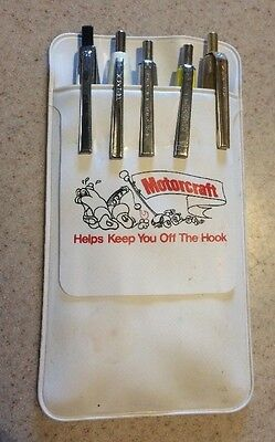 Vintage Motocraft Parts Oil Pocket Protector  With 5 Automotive Advertising Pens