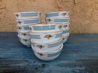 Set (14) Chinese Ceramic Pottery White Footed Rice / Soup Bowls / Cups