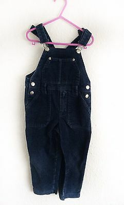 Vintage Kids French Cotton Navy Blue Cord Corduroy Unisex Dungarees 4 Y