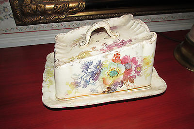 antique butter dish hand painted floral RARE
