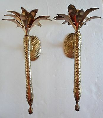 Vintage Pair Brass Pineapple Or Tropical Palm Wall Sconces Candle Holders India