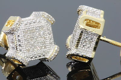 STERLING SILVER GOLD PLATING .32 CT MENS WOMENS 9mm REAL DIAMONDS EARRINGS STUDS