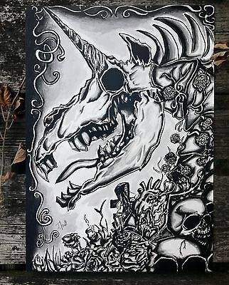 "Einhorn, Knochen,Horror Poster ""My little Boney"" A3"