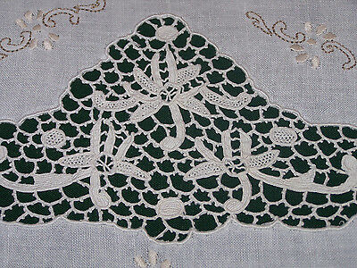 Elegant Vintage Linen Embroidered Tablecloth, Italian Needlelace Inserts, 1930