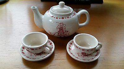 Quality childs teaset - Moulin Roty - cream and red teapot & 2 cups/ saucers