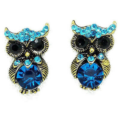 Vintage Tone Antique Jewlry Ear Studs Owl Gold Plated Blue Crystal