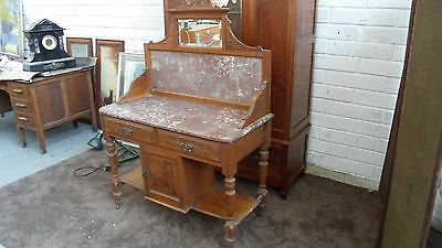 Victorian Marble Backed And Topped Wash Stand