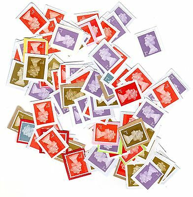 100 X Great Britain 1St Class Unfranked Stamps