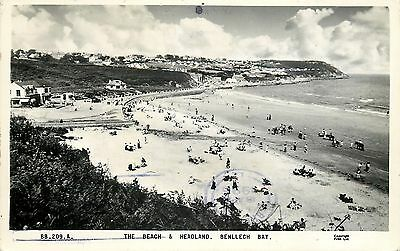 s08988 The Beach & Headland, Benllech Bay, Anglesey, Wales RP postcard
