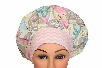 Medical Hat Surgical Scrub Cap Bouffant  Pink Grey and Blue Birds Chevron