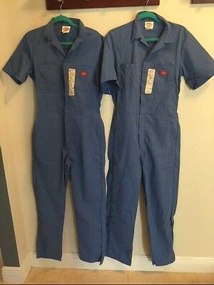 Lot Of 2 Mens Dickies Coveralls Short Sleeve Light Blue Size 38 Tall