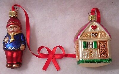 2 Vintage  Glass HOUSE AND CHILD Christmas Tree Ornament GERMANY