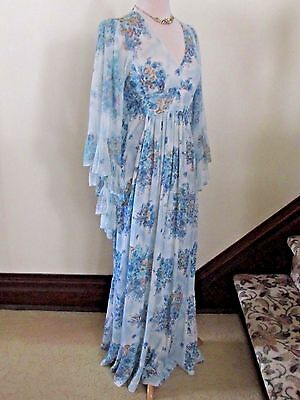 60s 70s Vtg BLUE FLORAL MAXI DRESS Sheer ANGEL SLEEVES Boho Hippie Empire S XS
