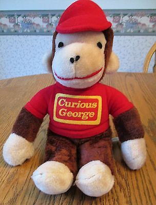 "Vintage Knickerbocker ""Plush"" Curious George-13 inches/Red Shirt & Hat"