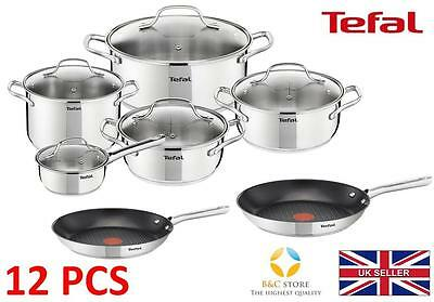Tefal Uno Stainless Steel Pots + 24 28 Cm Duetto Pan Kitchen Cookware Set 12 Pcs