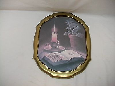 """Home Interior Homco """"The Fruit of the Spirit""""Picture(Bible/Candle)"""