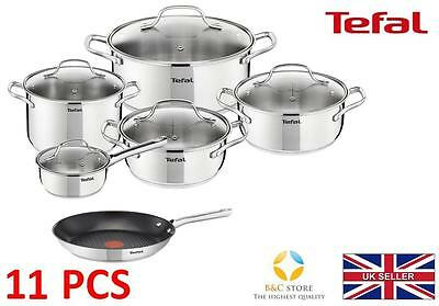 Tefal Uno Stainless Steel Pots + 24 Cm Duetto Pan Kitchen Cookware Set 11 Pcs