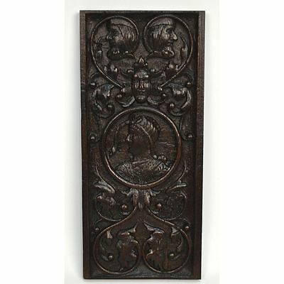 Antique 17th c. English Carved Oak Renaissance Panel of Nobleman and Figures
