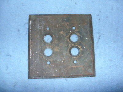 """Vintage Brass Type Electric Push Button Switch Plate Cover about 4.5"""" by 4.5"""""""