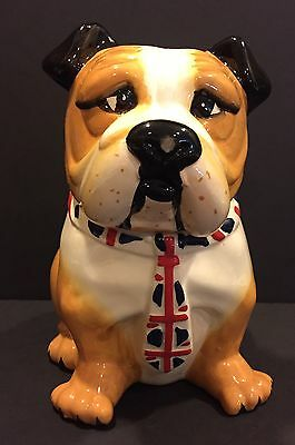 Bulldog Ceramic Cookie Jar English British UK Tie England