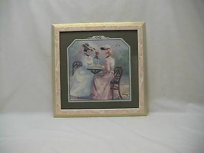 """Home Interior Homco""""Two""""Victorian Ladies Setting at Table Having Tea""""Picture"""