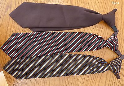 3 Boys Clip on Ties - Mixed Lot - Solid Color & Stripes - No Brand Name Set#4