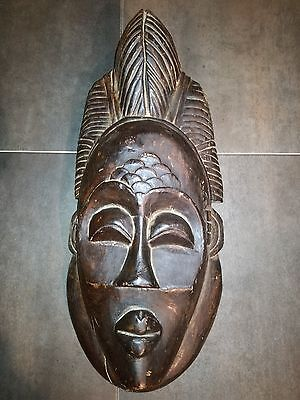 """Antique African Hand Carved Tribal Wooden Mask 19"""""""