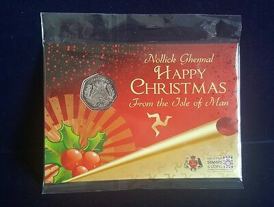 2016 ISLE OF MAN CHRISTMAS PUDDING CARDED 50p FIFTY PENCE BUNC