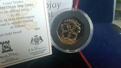 *very Rare* 2009 Isle Of Man 22Ct Gold Proof Five Gold Rings 50P Fifty Pence
