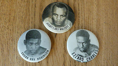 *REDUCED* 3 ORIGINAL 1950/60s BOXER BOXING PIN PINBACK SUGAR RAY ROBINSON WALCOT