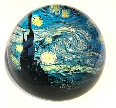 Starry Night Glass Dome Paperweight by Van Gogh Fantasy Sky Museum Gifts