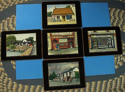 Set of 5 JOHN HINDE TABLEWARE COLLECTION IRISH PUBS CORKBOARD PLACEMATS