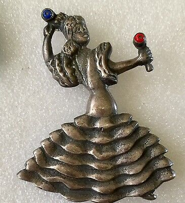 Rare Mexico 925 Sterling Silver Lady Mariachi Dancer Figural Brooch Enamel 2 1/4