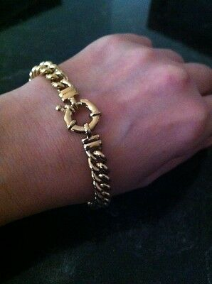 Yellow Gold Curbed solid Bracelet With Life Buoy Bolt