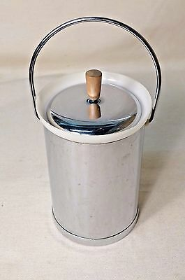Vintage Kromex Chrome Ice Bucket with Wood Handle Mid Century Modern Barware 60s