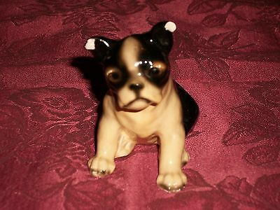 Vintage 1950s Mortens Studio Signed Boston Terrier Puppy Dog Figurine AS-IS