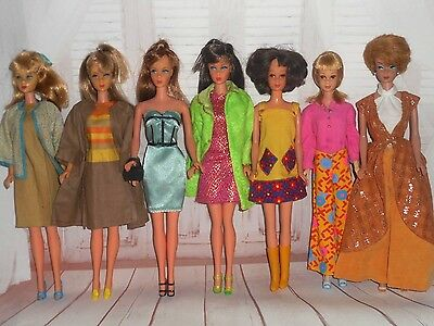 Vintage TLC BARBIE FRANCIE BUBBLECUT TNT STANDARD 7 DOLLS & CLOTHES DISPLAY LOT
